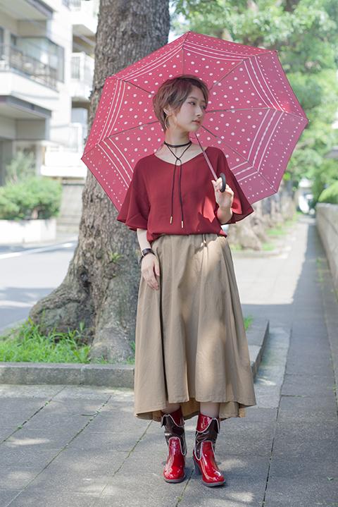 魔法少女まどか☆マギカ 佐倉杏子 モデル レインシューズ&折りたたみ傘