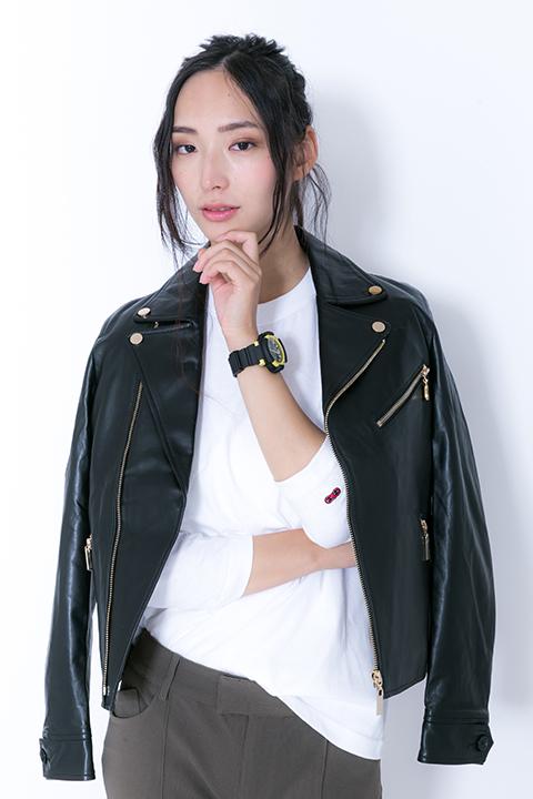 銀魂 沖田総悟 モデル ライダースジャケット&カットソー&バッグ&スニーカー&腕時計