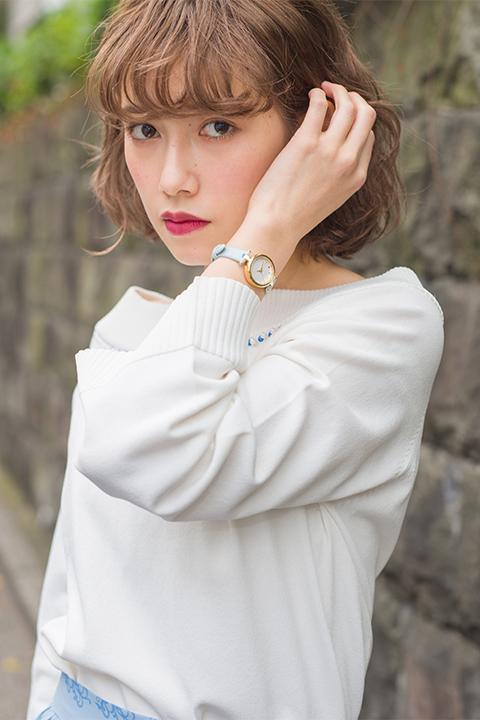 TSUKIPRO THE ANIMATION QUELL モデル ニット&スカート&バッグ&パンプス&腕時計