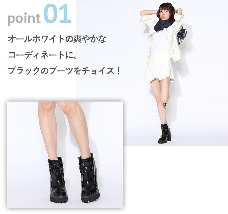 point01 オールホワイトの爽やかなコーディネートに、ブラックのブーツをチョイス!