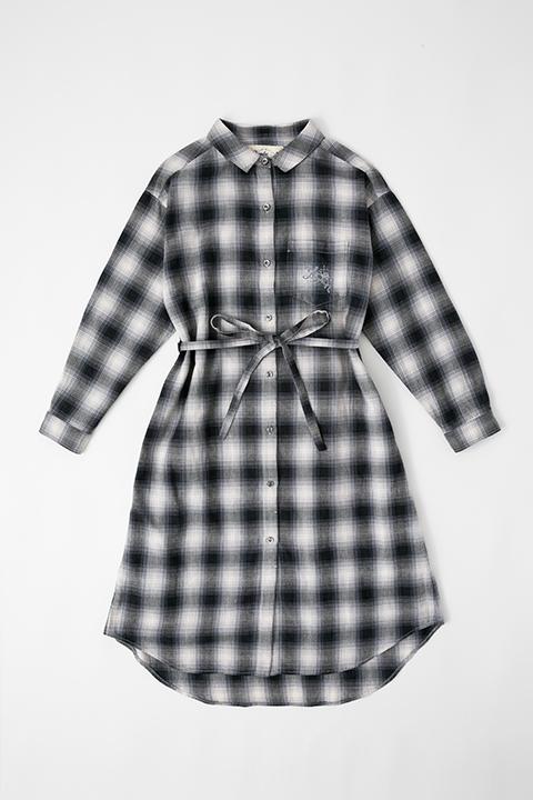 勝生勇利 モデル ロングチェックシャツ シャツワンピース シャツ ユーリ!!! on ICE